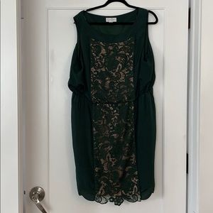 Green Cocktail Dress with Lace Cut Out